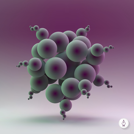 bacteria cell: Abstract spheres. 3d vector illustration. Can be used for presentations, web design.