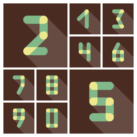 web 2 0: Numbers. Icons set. Vector flat design. Can be used as web sign and design element.