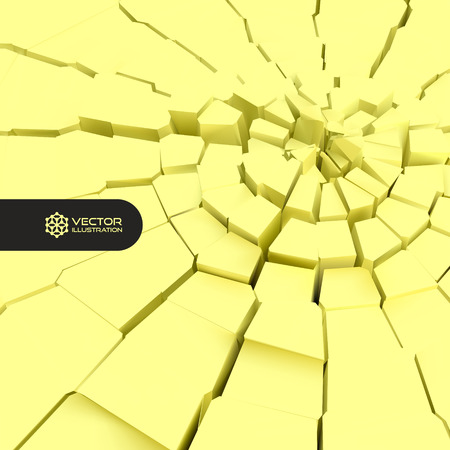 rebuild: Cracked background. 3d vector illustration. Can be used for marketing, website, print and presentation.
