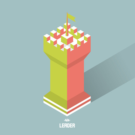 citadel: Leader concept. Tower. 3d vector illustration. Can be used for marketing, website, print and presentation.