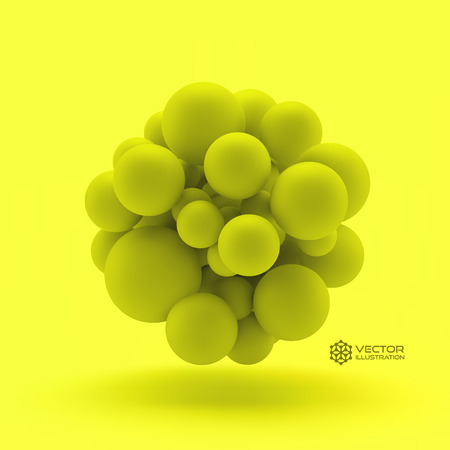 3d atom: 3D concept illustration. Vector template. Can be used for marketing, website, print and presentation.