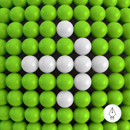 first form: Arrow. Abstract technology background with balls. 3d vector illustration. Can be used as background for your business presentation.