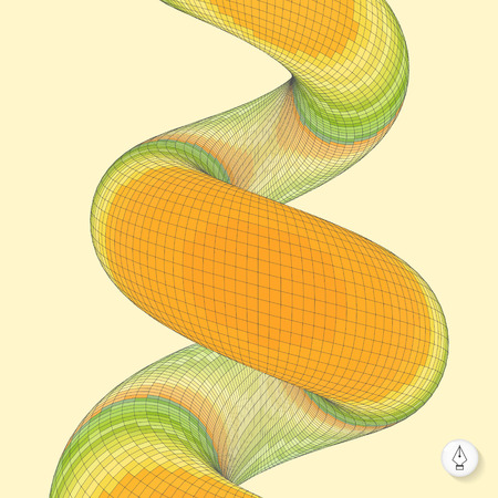 springy: Spiral. Mosaic. 3d vector illustration. Can be used as design element.