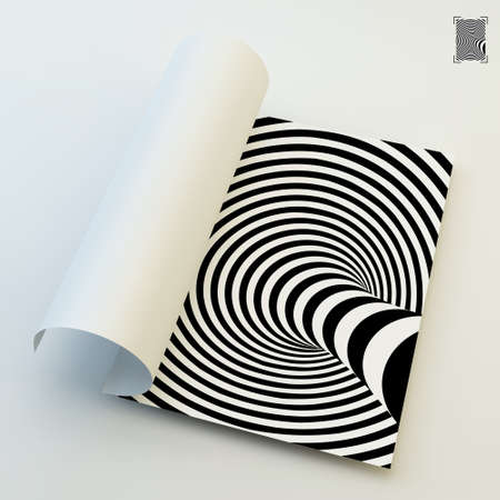 ripply: A4 Business Blank. Black And White Abstract Striped Background. Optical Art. 3d Vector Illustration.