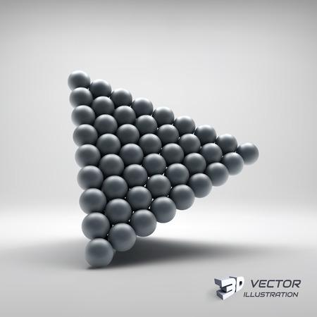 pyramidal: Pyramid Of Balls. 3d Vector Illustration. Can Be Used For Marketing, Website, Presentation.