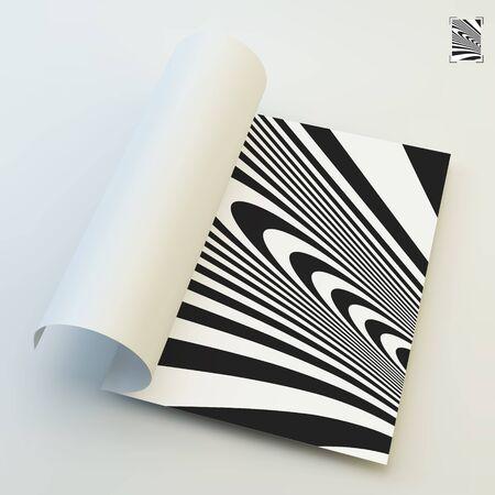 arte optico: A4 de visita en blanco. Blanco y negro abstracto Fondo rayado. Optical Art. Ilustración del vector 3d. Vectores