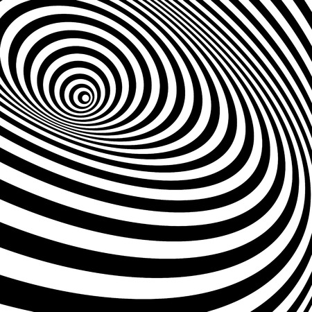 3d paper art: Black And White Abstract Striped Background. Optical Art. Vector Illustration.