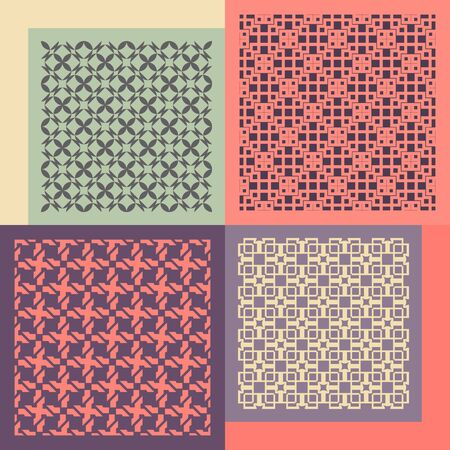 fabric samples: Set of four seamless patterns. Vintage geometric ornaments. Can be used for wallpaper, pattern fills, web page background. Vector Illustration. Illustration