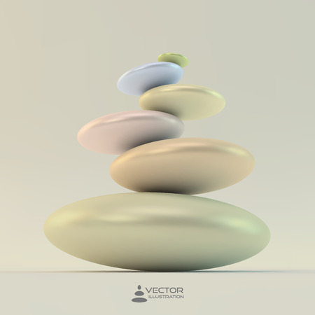 avuç: Spa stones. Vector 3d illustration. Can be used for design and presentation.