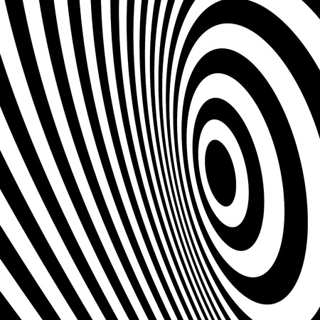 arte optico: Blanco y negro abstracto Fondo rayado. Optical Art. Ilustración del vector.