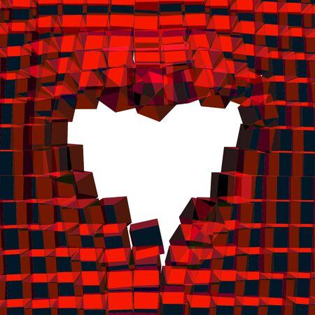 hintergrund liebe: Abstract 3D-Hintergrund mit Herz. Vector rissige Hintergrund. Liebe Symbol. Illustration