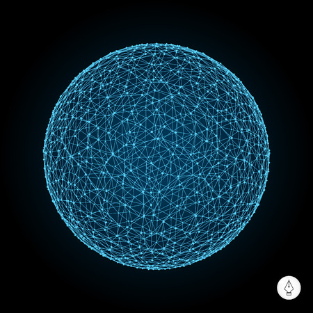 3d sphere. Global digital connections. Technology concept. Vector illustration. Can be used for banner, flyer, book cover and poster.