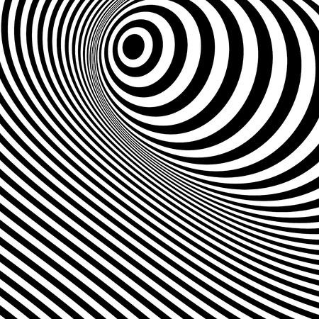 arte optico: Rayas de fondo abstracto blanco y negro. Optical Art. Ilustración vectorial 3d.