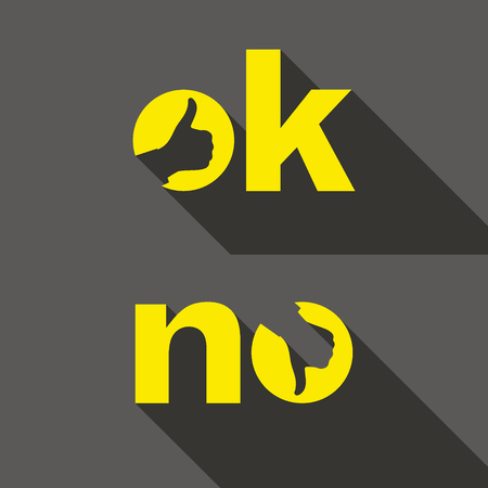 no: Ok and No symbol signs. Thumb up and down icons. Vector illustration for your design.