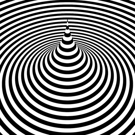 perceptions: Black and white abstract striped background. Optical Art. Vector illustration.