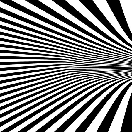 illusion: Pattern with optical illusion. Black and white background. Vector illustration.
