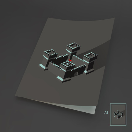leader concept: A4 Business Blank. Leader concept. Tower. 3d vector illustration.