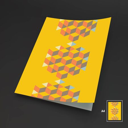 inscribed: A4 business blank. Template for design layout. Hexagon shape with cubes inscribed. 3d vector illustration. Can be used for business concepts.