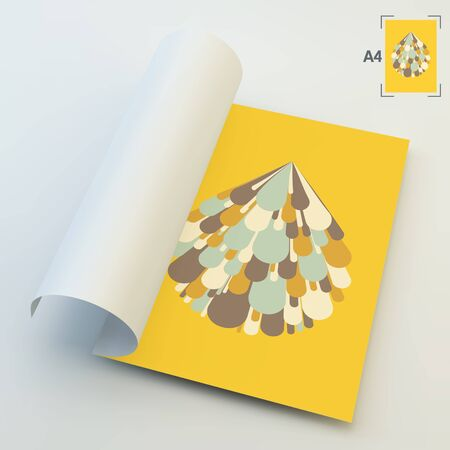 book design: A4 Business Blank. Salute And Fireworks. 3d Vector Illustration. Celebration Card. Can Be Used For Advertising, Marketing And Presentation.