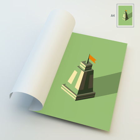 citadel: A4 Business Blank. Leader concept. Tower. 3d vector illustration. Can Be Used For Advertising, Marketing and Presentation.