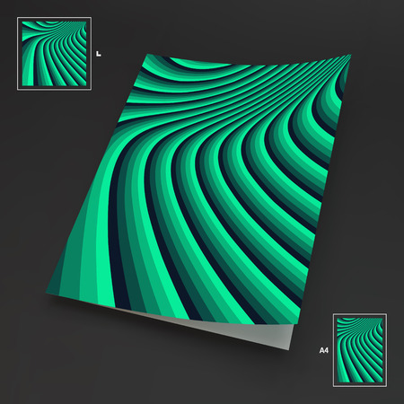 arte optico: A4 Business Blank. Abstract Striped Background. Optical Art. 3d Vector Illustration.