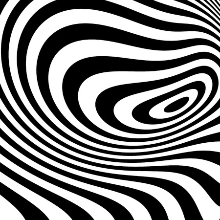 arte optico: Rayas de fondo abstracto blanco y negro. Optical Art. Ilustración del vector.