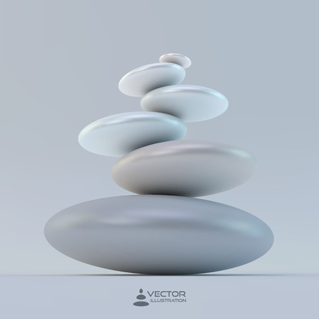 pebbles: Spa stones. Vector 3d illustration. Can be used for design and presentation.