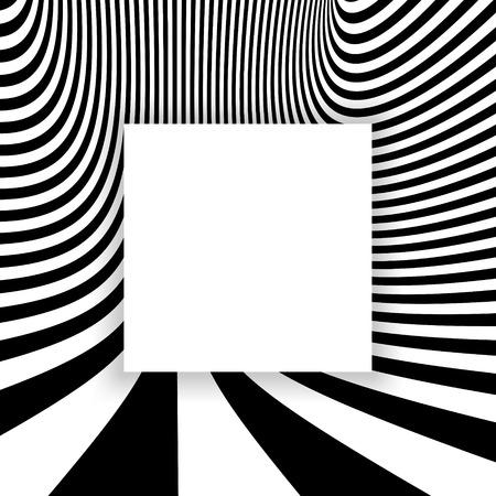 arte optico: Rayas de fondo abstracto blanco y negro. Optical Art. Ilustración del vector.