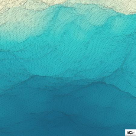 물 표면. 물결 모양의 격자 배경입니다. 모자이크. 3 차원 벡터 일러스트 레이 션. 추상 텍스처입니다.