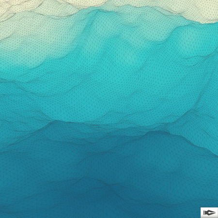 perspective grid: Water Surface. Wavy Grid Background. Mosaic. 3d Vector Illustration. Abstract Texture.