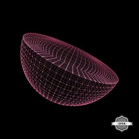 hemispherical: Half-sphere. Molecular lattice. Connection structure. 3d Vector Illustration.
