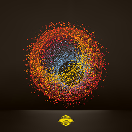 techno: 3d abstract spheres. Concept for science, technology and network. Vector illustration.