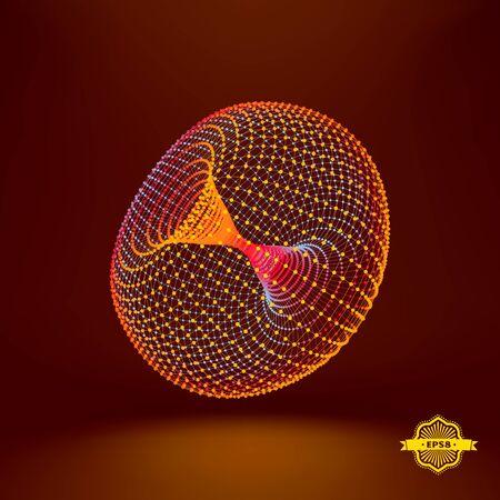 surfaces: Torus. Connection Structure. Vector 3D Illustration. Illustration