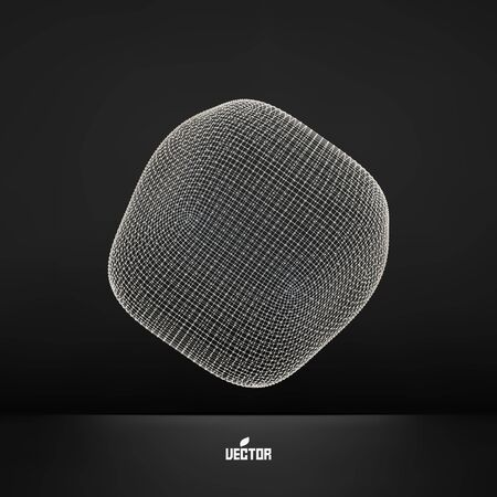 3d shape: Perspective Wireframe Object. Connection Structure. Vector Illustration. Illustration