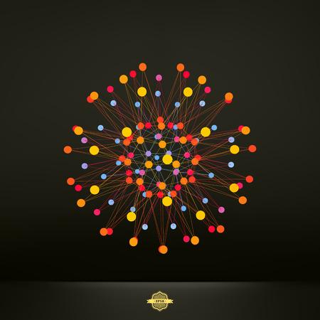 banger: Abstract 3d design element, emblem. Different lights dots on black background. Vector illustration. Illustration