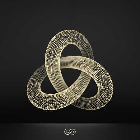 torus: Trefoil Knot. Connection Structure. Vector 3D Illustration.