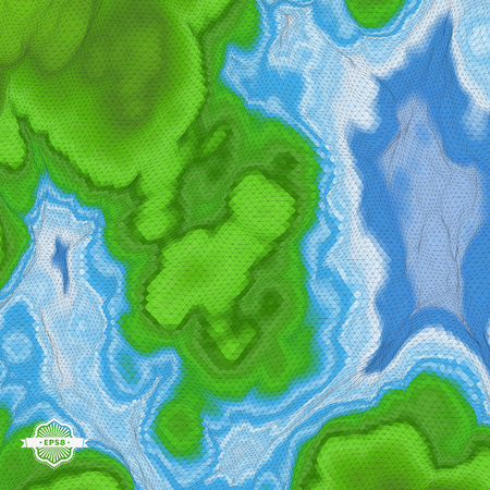 mountain view: Abstract Landscape Background. Mosaic. 3d Vector Illustration.