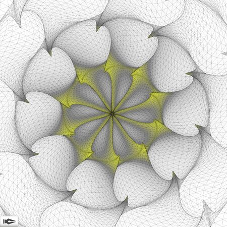 torsion: Torsion And Rotation Movement. Vector Art. Mosaic. 3D Abstract Illustration.