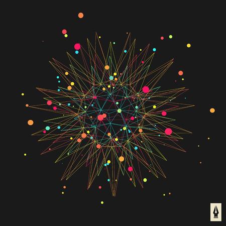 3d design element: Abstract 3d Design Element, Emblem. Different Lights Dots On Black Background. Vector Illustration.