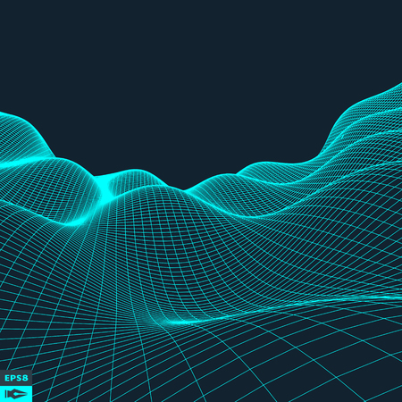Abstract vector landscape background. Cyberspace grid. 3d technology vector illustration. Иллюстрация