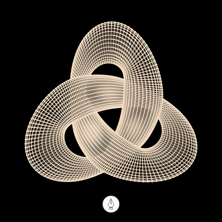 loops: Trefoil Knot. Connection Structure. Vector 3D Illustration.