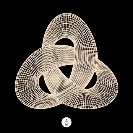 endlessness: Trefoil Knot. Connection Structure. Vector 3D Illustration.