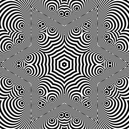 guilloche pattern: Abstract Striped Background. Black and White Vector Illustration.