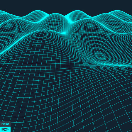 grid: Abstract vector landscape background. Cyberspace grid. 3d technology vector illustration. Illustration