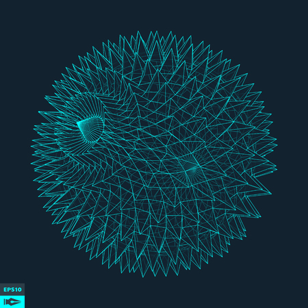 prickles: 3d Sphere With Prickles. Abstract Geometric Object. Vector Illustration.