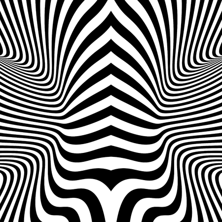 illusions: Black and White Background. Pattern With Optical Illusion. Vector Illustration.