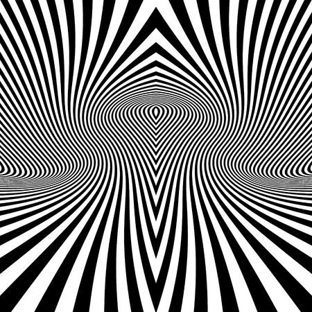 arte optico: Extracto blanco rayado blanco y negro de fondo. Arte óptico. Ilustración del vector 3d. Vectores
