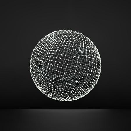 grid: 3d Sphere. Global Digital Connections.
