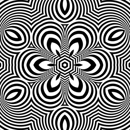 illusions: Black and White Geometric Pattern. Abstract Striped Background. Vector Illustration.