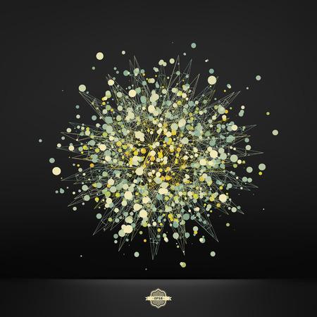 banger: Abstract 3d Design Element, Emblem. Different Lights Dots On Black Background. Vector Illustration.
